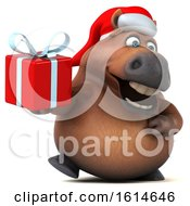 Poster, Art Print Of 3d Chubby Brown Christmas Horse On A White Background