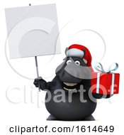 Clipart Of A 3d Chubby Black Christmas Horse On A White Background Royalty Free Illustration