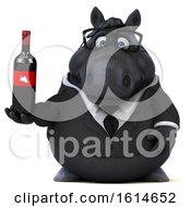 Clipart Of A 3d Chubby Black Business Horse On A White Background Royalty Free Illustration