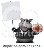 Clipart Of A 3d Business Rhinoceros On A White Background Royalty Free Illustration by Julos