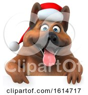 Clipart Of A 3d Christmas German Shepherd Dog On A White Background Royalty Free Illustration by Julos