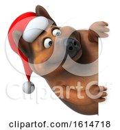 3d Christmas German Shepherd Dog On A White Background
