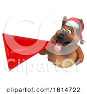 Clipart Of A 3d Christmas German Shepherd Dog On A White Background Royalty Free Illustration