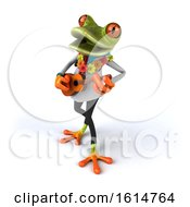 Poster, Art Print Of 3d Green Doctor Springer Frog On A White Background