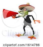 Clipart Of A 3d Green Business Springer Frog Wearing A Sombrero On A White Background Royalty Free Illustration