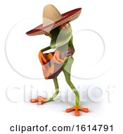 Poster, Art Print Of 3d Green Mexican Springer Frog On A White Background