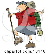 Slightly Chubby Man Hiking And Carrying A Stick And Gear On His Back