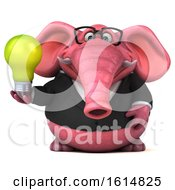 Poster, Art Print Of 3d Pink Business Elephant On A White Background