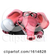 Clipart Of A 3d Pink Business Elephant On A White Background Royalty Free Illustration
