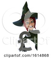 Clipart Of A 3d Sexy Green Witch On A White Background Royalty Free Illustration by Julos