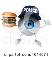 3d Blue Police Eyeball Character On A White Background
