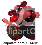 Clipart Of A 3d Red Business Bull On A White Background Royalty Free Illustration by Julos