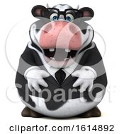 Clipart Of A 3d Business Holstein Cow On A White Background Royalty Free Illustration by Julos