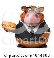 Clipart Of A 3d Brown Business Cow On A White Background Royalty Free Illustration by Julos