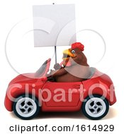 Clipart Of A 3d Brown Chicken On A White Background Royalty Free Illustration