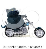 Clipart Of A 3d Black Kitty Cat On A White Background Royalty Free Illustration