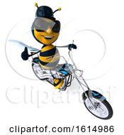 3d Male Bee Biker Riding A Chopper Motorcycle On A White Background