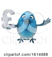 Clipart Of A 3d Blue Bird Holding A Lira Symbol On A White Background Royalty Free Illustration