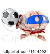 Clipart Of A 3d Super Brain Character On A White Background Royalty Free Illustration