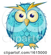 Clipart Of A Blue Owl Royalty Free Vector Illustration