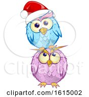 Poster, Art Print Of Blue Christmas Owl Wearing A Santa Hat And Balancing On A Purple Owl