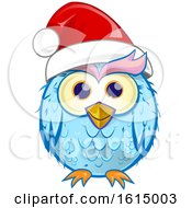 Poster, Art Print Of Blue Christmas Owl Wearing A Santa Hat