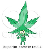 Clipart Of A Cannabis Marijuana Pot Leaf Mascot Royalty Free Vector Illustration by Domenico Condello