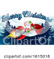 Santa Claus Rocket Merry Christmas Forest Cartoon