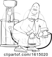 Clipart Of A Cartoon Lineart Black Business Man Pumping Gasoline Into A Gas Can Royalty Free Vector Illustration