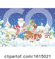 Clipart Of A Snowy Christmas Eve Roof Top With Santa And Toys Royalty Free Vector Illustration