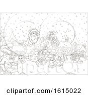Clipart Of A Lineart Snowy Christmas Eve Roof Top With Santa And Toys Royalty Free Vector Illustration
