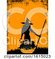 Halloween Background With Witch And Cauldron