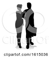Young Couple Shopping Silhouettes On A White Background