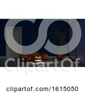 3D Contemporary Empty Room With Jack O Lantern