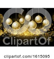 Christmas Baubles On Glittery Gold Background
