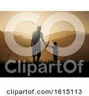 3D Silhouette Of Father And Daughter Against A Sunset Ocean Landscape
