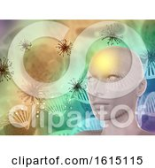 3D Abstract Medical Background With Female Face Virus Cells And DNA Strands