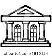 Clipart Of An Old Building Facade Icon Royalty Free Vector Illustration