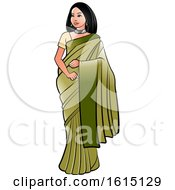 Clipart Of A Woman In A Green Saree Royalty Free Vector Illustration
