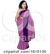 Clipart Of A Woman In A Purple Saree Royalty Free Vector Illustration
