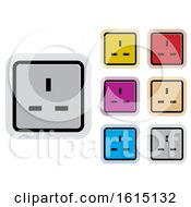 Clipart Of Colorful Socket Plug Icons Royalty Free Vector Illustration