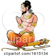 Clipart Of A Sri Lankan King With A Bow And Arrows Royalty Free Vector Illustration by Lal Perera