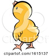 Clipart Of A Rear View Of A Cute Yellow Chick Royalty Free Vector Illustration by Lal Perera