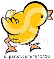 Clipart Of A Cute Curious Yellow Chick Royalty Free Vector Illustration by Lal Perera
