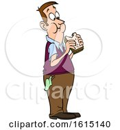 Clipart Of A Cartoon White Man Eating A Sandwich Royalty Free Vector Illustration