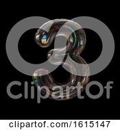Clipart Of A Soap Bubble Number 3 On A Black Background Royalty Free Illustration