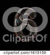Clipart Of A Soap Bubble Number 6 On A Black Background Royalty Free Illustration