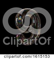 Soap Bubble Number 9 On A Black Background