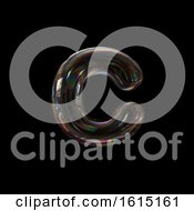 Soap Bubble Lowercase Letter C On A Black Background