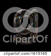 Clipart Of A Soap Bubble Lowercase Letter G On A Black Background Royalty Free Illustration by chrisroll